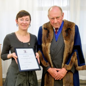 Photo: Master of the Worshipful Company of Upholders, Nic Myer, and Bettina Langlois, prize winner