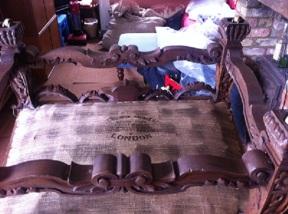Stenhouse and Savage - maker's mark on bottom cloth beneath chair