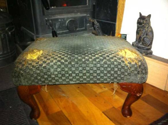 Photo: footstool before re-upholstering