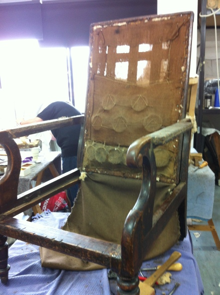 Photo: early C19th chair with most of the upholstery removed